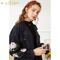 Windbreaker Spring 2020 S M L Dark blue Long sleeves routine Medium length street zipper Half high collar routine Solid color Straight cylinder Ailian 181052A666 18-24 years old Embroidered pocket 96% and above cotton cotton Cotton 100% Sports & Leisure