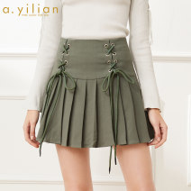 skirt Spring 2020 S,M,L,XL Black, dark green Short skirt Sweet Natural waist Pleated skirt Solid color Type A 18-24 years old 181173A196-162368 More than 95% other Ailian polyester fiber Fold, strap college