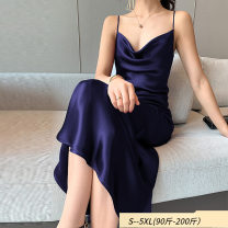 Women's large Summer 2020 Black, Navy, Burgundy M (about 100 kg recommended), l (about 125 kg recommended), XL (about 140 kg recommended), 2XL (about 155 kg recommended), 3XL (about 170 kg recommended), 4XL (about 185 kg recommended) Dress singleton  commute easy thin Socket Solid color Pile collar