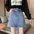 skirt Spring 2021 S,M,L,XL,2XL,3XL,4XL Black (with safety pants), blue (with safety pants) Short skirt commute High waist Denim skirt Solid color Type A 18-24 years old 81% (inclusive) - 90% (inclusive) Denim cotton Pocket, button, zipper Korean version