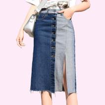 skirt Summer of 2019 S,M,L,XL,2XL,3XL blue Middle-skirt commute High waist Denim skirt other Type A 25-29 years old 71% (inclusive) - 80% (inclusive) Denim cotton Pocket, asymmetric, button, stitching