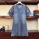 Women's large Summer 2021 blue Large XL, large 2XL, large 3XL, large 4XL, large 5XL Dress singleton  commute easy thin Socket elbow sleeve Solid color Korean version V-neck Denim other Gauze Medium length