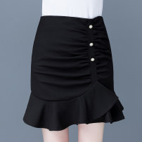 skirt Spring 2021 26/S 27/M 28/L 29/XL 30/2XL Black white pink yellow Short skirt commute High waist Ruffle Skirt Solid color Type A 25-29 years old YME-310 More than 95% Wool Emile other Lotus leaf edge Other 100%