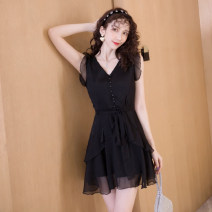 Dress Summer 2020 black S,M,L,XL Short skirt singleton  Sleeveless Sweet V-neck High waist Solid color zipper A-line skirt Lotus leaf sleeve Others 18-24 years old Type A Bow, ruffle, lace, zipper 901# 81% (inclusive) - 90% (inclusive) Chiffon polyester fiber princess