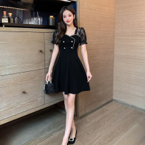 Dress Summer 2021 Black sleeves, white sleeves S,M,L,XL,2XL Short skirt singleton  Short sleeve commute square neck High waist Solid color zipper A-line skirt puff sleeve 18-24 years old Type A lady Stitching, buttons, zippers, lace