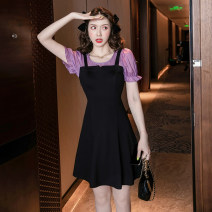Dress Summer 2021 black S,M,L,XL,2XL Short skirt Fake two pieces Short sleeve commute Crew neck High waist Solid color zipper A-line skirt routine Others 18-24 years old Type A lady Panel, zipper 0970 good quality