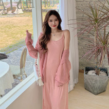 Dress Summer 2021 Pink suit Average size Mid length dress Two piece set Sleeveless commute Crew neck Loose waist Solid color Socket A-line skirt routine camisole Type A 2021-TZ1125F 71% (inclusive) - 80% (inclusive) Cellulose acetate