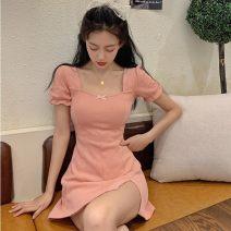 Dress Summer 2020 Black, pink S,M,L Short skirt singleton  Short sleeve commute square neck A-line skirt 18-24 years old Type A Korean version