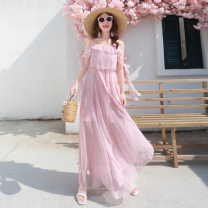 Dress Autumn of 2018 Pink dress S, M longuette singleton  Sweet Elastic waist Solid color camisole Miss Fox Lotus leaf edge Chiffon Bohemia