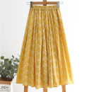 skirt Summer 2021 XS,S,M,L,XL,2XL yellow longuette Versatile High waist Pleated skirt Broken flowers Type A 25-29 years old More than 95% Ocnltiy