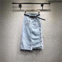 skirt Summer 2021 S,M,L,XL wathet longuette commute High waist A-line skirt Solid color Type A 25-29 years old More than 95% Denim Ocnltiy cotton tassels , Asymmetry , Button , zipper Korean version