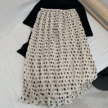 skirt Summer 2021 M Off white longuette commute High waist Pleated skirt Dot Type H 25-29 years old More than 95% Chiffon Ocnltiy Korean version