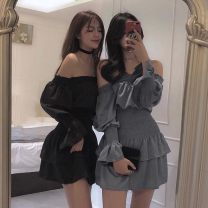 Dress Autumn of 2019 Blue, black Average size Short skirt singleton  Long sleeves commute One word collar Loose waist Solid color Socket A-line skirt Lotus leaf sleeve Breast wrapping 18-24 years old Type A Korean version 81% (inclusive) - 90% (inclusive)