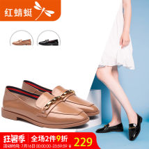 Low top shoes Reddragonfly / Red Dragonfly Apricot black Round head Flat bottom PU Shallow mouth Flat heel (1cm or less) Depravation Summer of 2018 PU