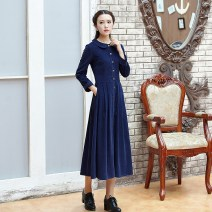 Dress Spring of 2019 Red, dark blue S,M,L,XL,2XL,3XL longuette singleton  Long sleeves commute Doll Collar middle-waisted Solid color Single breasted Pleated skirt routine Others 25-29 years old Type A Dream of skirt dance Retro Pocket, button More than 95% corduroy cotton