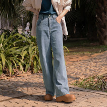 Jeans Spring 2021 Washed denim S,M,L,XL trousers Natural waist Straight pants routine 25-29 years old light colour Lusheng 96% and above