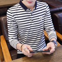 T-shirt Youth fashion White Red Navy routine 165/M 170/L 175/XL 180/XXL 185/3XL Yamatiro Long sleeves Lapel Self cultivation daily autumn Cotton 95% polyurethane elastic fiber (spandex) 5% teenagers routine tide other Autumn of 2018 stripe Color contrast other Sea soul No iron treatment Fashion brand