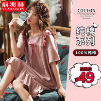 Nightdress Yu Zhaolin 160M 165L 170XL 175XXL 180XXXL Sweet Short sleeve Leisure home Middle-skirt summer Solid color youth square neck cotton Lotus leaf edge More than 95% pure cotton PYZL20201356 200g and below Spring 2021 Cotton 100% Same model in shopping mall (sold online and offline)