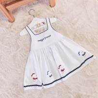 Dress white female the post-00s generation 80cm,90cm,100cm,110cm,120cm Cotton 100% college Solid color cotton A-line skirt Class A 2 years, 12 months, 3 years, 5 years, 18 months, 4 years, 9 months, 6 months Chinese Mainland