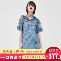 Dress Autumn of 2019 Blue printing XS,S,M,L,XL Short skirt Two piece set Short sleeve Hood middle-waisted Socket other routine 25-29 years old Type H Color / calaver Lace 293U322 More than 95% polyester fiber