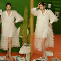 Wedding dress Winter 2016 Women's wear Average size Korean version Fluffy skirt other other Gridding yarn middle-waisted 18-25 years old Large size