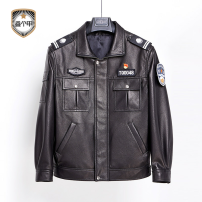 leather clothing Others Youth fashion black M,L,XL,XXL,XXXL have more cash than can be accounted for Imitation leather clothes Lapel zipper go to work middle age Epaulet