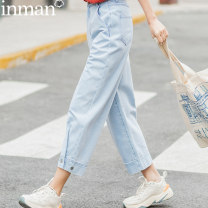 Jeans Summer 2021 Light denim 25 26 27 28 29 30 Ninth pants High waist Straight pants routine 25-29 years old Dark color 180_ TM2263a Inman / Inman 96% and above Cotton 100%