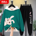 suit NGGGN 110cm 120cm 130cm 140cm 150cm 160cm 165cm female spring and autumn motion Long sleeve + pants 2 pieces routine There are models in the real shooting Socket No detachable cap Cartoon animation cotton children Expression of love N20210127101 Class B Cotton 83% polyester 17% Spring 2021
