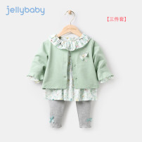 suit jellybaby Bean green dark blue Dark Khaki 80cm 90cm 100cm 110cm 120cm 130cm female spring and autumn leisure time Long sleeve + pants 3 pieces Thin money There are models in the real shooting Single breasted nothing Broken flowers other children Expression of love JT01831 other Other 100%