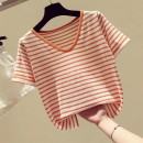 T-shirt Blue, red, orange S,M,L Summer of 2019 Short sleeve V-neck easy have cash less than that is registered in the accounts routine commute other 30% and below Korean version other Thin horizontal stripe Other / other