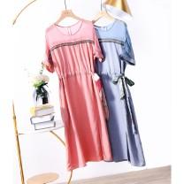Dress Summer 2020 Pink, grayish blue S,M,L,XL Mid length dress singleton  Short sleeve Crew neck Solid color Socket raglan sleeve Type A LY3762