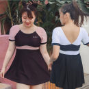 one piece  Brown, black Skirt one piece Steel strap breast pad other female Short sleeve Casual swimsuit other