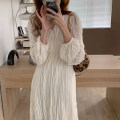 Dress Summer 2021 Off white, black Average size Mid length dress singleton  Long sleeves commute V-neck High waist Solid color routine Others 18-24 years old Type A 81% (inclusive) - 90% (inclusive)