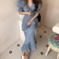 Dress Summer 2020 White, blue S,M,L longuette singleton  Short sleeve commute V-neck High waist Solid color puff sleeve 18-24 years old Korean version Frenulum More than 95%