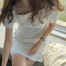 Dress Summer 2020 Decor, black Average size Short skirt singleton  Short sleeve commute square neck Korean version