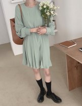 Dress Spring 2021 Picture color Average size singleton  Long sleeves commute V-neck Solid color Socket routine 18-24 years old Splicing