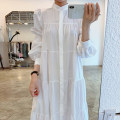 Dress Autumn 2020 White, black Average size Mid length dress singleton  Long sleeves commute stand collar Loose waist Solid color puff sleeve Others 18-24 years old Type H Korean version
