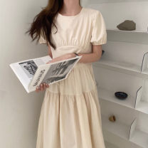 Dress Summer 2021 Apricot, white, black Average size Mid length dress singleton  Short sleeve commute Crew neck Solid color 18-24 years old