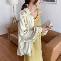 shirt Light yellow suspender skirt, shirt 3087# Average size Summer 2020 other 31% (inclusive) - 50% (inclusive) Long sleeves commute Medium length Polo collar Single row multi button