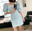 Dress Summer 2021 Light blue, white, black S,M,L Middle-skirt singleton  Short sleeve commute square neck High waist Solid color 18-24 years old
