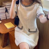 Dress Autumn 2020 White, black S, M Short skirt singleton  Short sleeve commute Crew neck High waist 18-24 years old