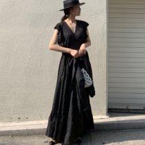 Dress Summer of 2019 black Average size longuette singleton  Short sleeve commute other Loose waist other other routine Others 18-24 years old Other / other 81% (inclusive) - 90% (inclusive) brocade cotton