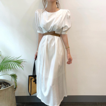 Dress Summer 2021 white Average size Mid length dress singleton  Long sleeves commute Crew neck High waist Solid color 18-24 years old