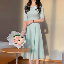 Dress Spring 2021 Green, black S,M,L longuette singleton  elbow sleeve commute Crew neck High waist Solid color Socket routine 18-24 years old Type A Korean version More than 95% Chiffon
