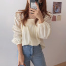 shirt Apricot, Navy Average size Autumn 2020 cotton 96% and above Long sleeves commute Regular V-neck Socket routine Solid color 18-24 years old Straight cylinder Korean version Gouhua, hollowed out, pleated, bright line decoration pure cotton