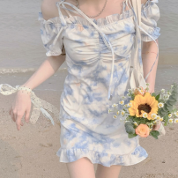 Dress Spring 2021 Blue and white sling, blue and white regular, blue and white top, blue and white long S,M,L,XL Middle-skirt singleton  Short sleeve commute High waist Broken flowers Socket Ruffle Skirt routine 18-24 years old Type A Korean version other