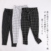 Casual pants White stripe, black stripe, white grid, black grid, blue stripe S,M,L,XL,1X,2X,3X Spring 2020 trousers Pencil pants High waist commute Lady Boya Korean version pocket