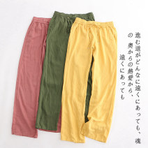 Casual pants Dark brown a-17-4-1, orange a-17-4-1, yellow a-17-4-1, pink a-17-4-1, white a-17-4-1, army green a-17-4-1, black a-17-4-1, khaki a-17-4-1 S,M,L Summer 2020 trousers High waist commute Thin money Lady Boya Korean version