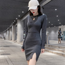 Dress Autumn 2020 Dark grey, black S,M,L,XL Short skirt singleton  Long sleeves commute Crew neck High waist Solid color Socket One pace skirt routine Others 18-24 years old Type H Korean version Holes, hollows 31% (inclusive) - 50% (inclusive) knitting cotton