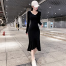 Dress Autumn 2020 black S,M,L,XL longuette singleton  Long sleeves commute V-neck High waist Solid color Socket Ruffle Skirt routine Others 25-29 years old Type H Korean version Splicing 31% (inclusive) - 50% (inclusive) knitting cotton